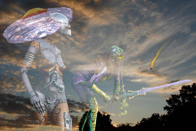 Bodypainting: Ufo-Invasion aus dem All
